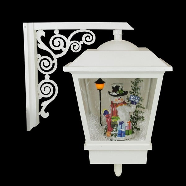 """17.75"""" Lighted Musical Snowman Wall Mounted Snowing Christmas Street Lamp"""