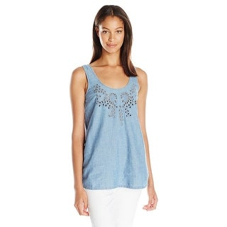 Lucky Brand Denim Eyelet Tank Top Shirt - s