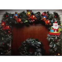 8' Shimmering Santa Claus & Reindeer Christmas Light Garland with 10 Clear Mini Lights - White Wire - brown