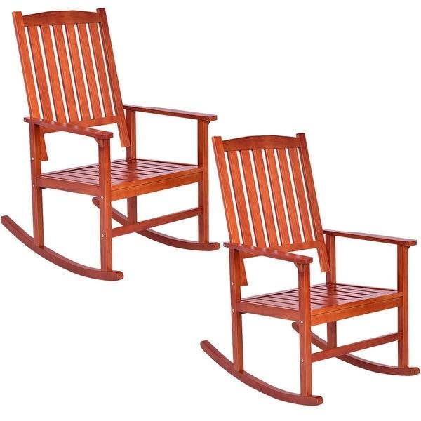 Shop Costway Set Of 2 Wood Rocking Chair Porch Rocker Indoor Outdoor