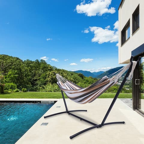 Nestfair Indoor or Outdoor Use Classic Hammock with Stand for 2 Person