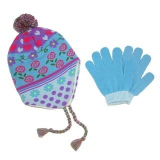 CTM® Girls' 3-6X Peruvian Hat and Glove Set - One Size