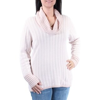Womens Pink Striped Long Sleeve Cowl Neck Sweater Size L