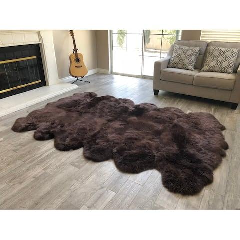 """Dynasty 12-Pelt Luxury Long Wool Sheepskin Dark Brown Shag Rug - 5'5"""" x 9'2"""""""