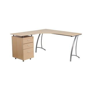 Offex Beech Laminate L-Shape Desk with Three Drawer Pedestal