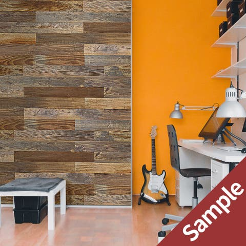 "BELLEZE Solid Pine Barn Wood DIY Wall Panels - Easy Peel and Stick - Sample Only - 5.7"" x 3.54"" x 0.19"" - standard"