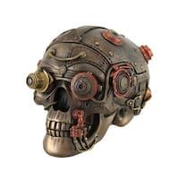 Bronze Finish Leather Look Gearhead Steampunk Skull Trinket/Stash Box