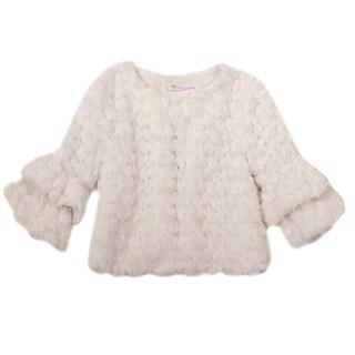 Bonnie Jean Girls Beige Swirl Faux Fur Long Sleeve Bolero Jacket