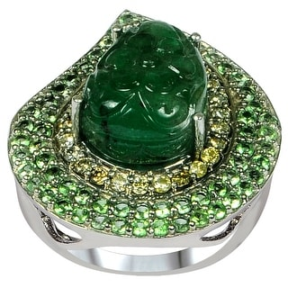 Emerald, Tsavorite, Diamond Sterling Silver Pear, Round Cluster Ring by Orchid Jewelry