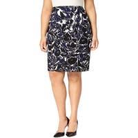 Kasper Womens Plus Pencil Skirt Floral Print Knee-Length