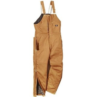 Dickies TB839BDLR Men's Regular Fit Duck Insulated Bib Overalls, Large, Brown