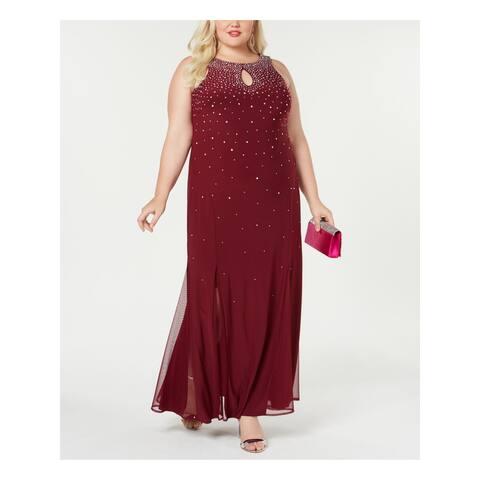 R&M RICHARDS Maroon Sleeveless Maxi Sheath Dress Size 18W