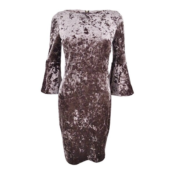 3309bc17b12 Shop Calvin Klein Women s Plus Size Velvet Bell-Sleeve Dress - Taupe - Free  Shipping Today - Overstock - 23490757