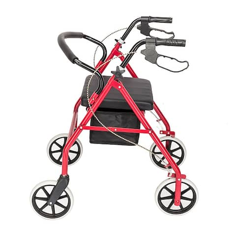 Fold Up Steel & Nylon 4 Wheel Walker Rollator Removable Back