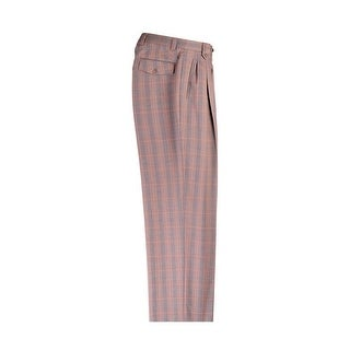 Tan with Brown and Light Blue Plaid Wide Leg Pure Wool Dress Pants by Tiglio Luxe