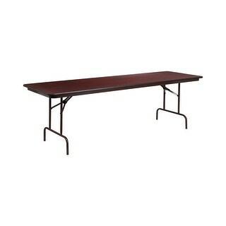 Offex 30'' x 96'' Rectangular High Pressure Mahogany Laminate Folding Banquet Table [OF-YT-3096-HIGH-WAL-GG]