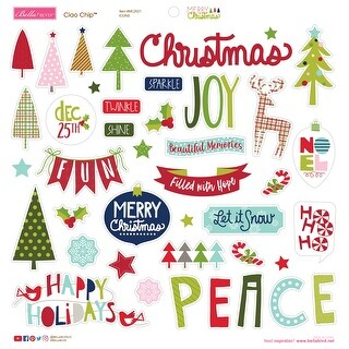 """Merry Christmas Chipboard Stickers 12""""X12""""-Icons"""