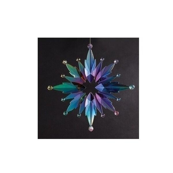 "12"" Large Rainbow Finish Iridescent Snowflake Christmas Ornament"