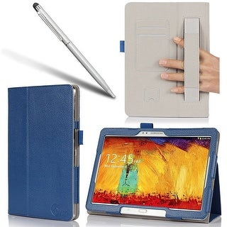 i-BLASON-Samsung Galaxy Tab Pro 10.1 Case-Leather Book Cover with Bonus Stylus-Blue