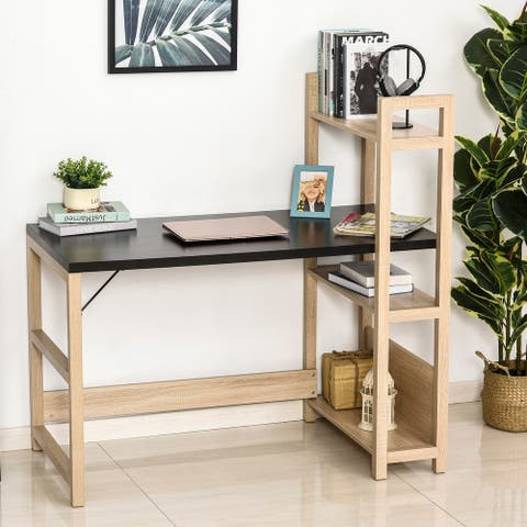 HOMCOM Rectangle Computer Desk with 3-Tier Book Shelf Wide Display Table for Home Study, Office, Black/Oak
