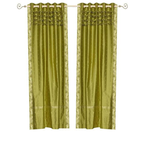 Olive Green Hand Crafted Grommet Top Sheer Sari Curtain Panel -Piece