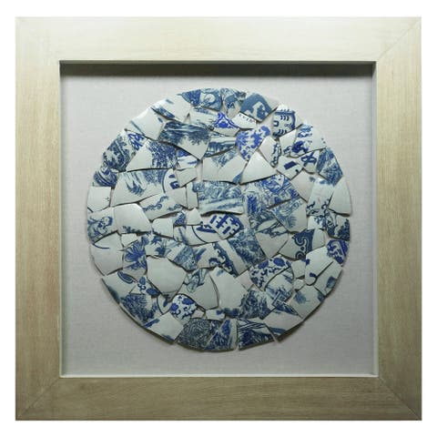 HUJI Blue Shattered Porcelain Shadow Box Wall Decor