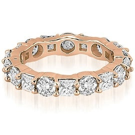 3.15 cttw. 14K Rose Gold Round and Princess Diamond Eternity Ring