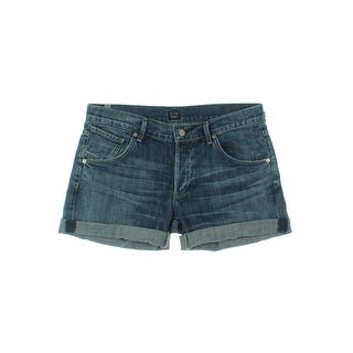 Citizens of Humanity Womens Denim Shorts Flat Front Cuffed