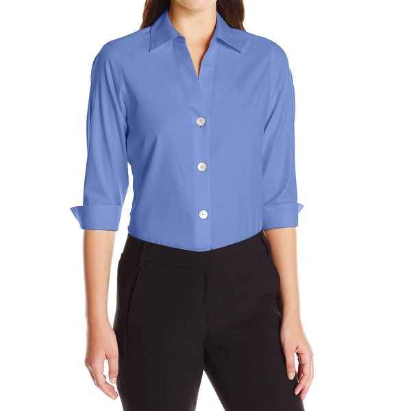 Foxcroft Blue Womens Size 20W Plus Solid Non-Iron Button Down Shirt