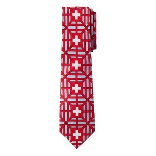 Jacob Alexander Switzerland Country Flag Colors Men's Necktie - Red Grey Design with Vertical White Swiss Cross Design