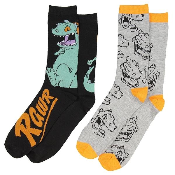 Nickelodeon Rugrats Reptar Rawr Men's 2 Pack Casual Crew Socks