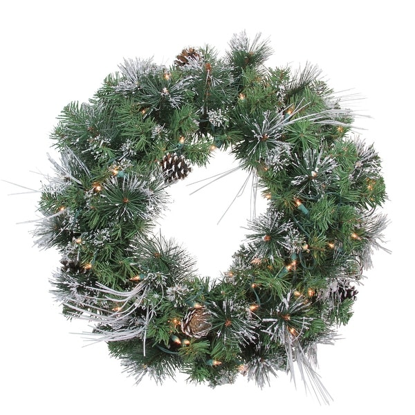"""24"""" Pre-Lit Flocked and Glittered Mixed Pine Christmas Wreath - Clear Lights - green"""