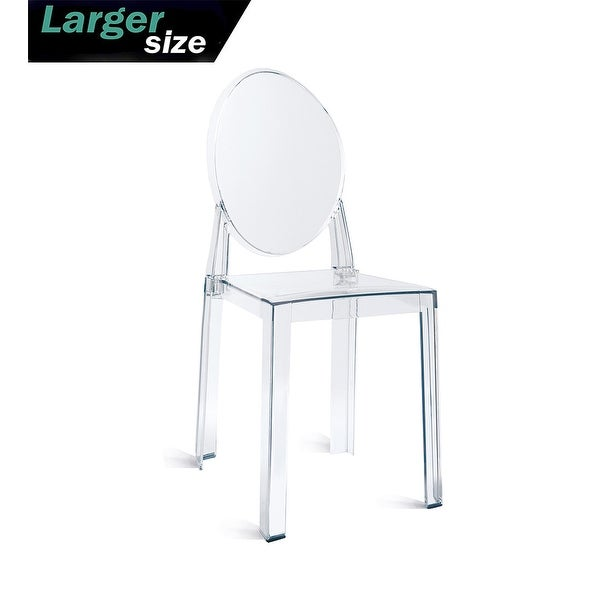 2xhome Larger Size Modern Transparent Dining Living Room Ghost Side Dining Room Chair Accent Lounge No Arms Armless Seat