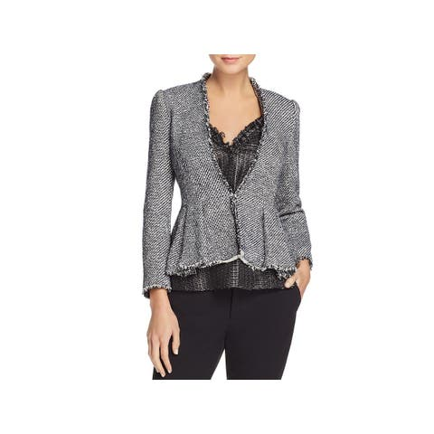 Rebecca Taylor Womens Open-Front Blazer Tweed Shimmer