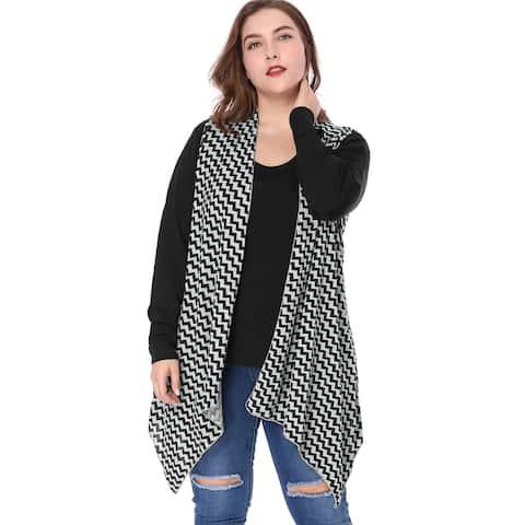 Unique Bargains Women Plus Size Zig-zag Pattern Irregular Hem Knit Cardigan - Gray