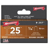 "Arrow Fastener 257 T25 Round Crown Staples, 7/16""; 1,000 Pk"