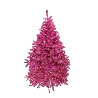 6.5' Pre-Lit Orchid Pink Cedar Pine Artificial Christmas Tree - Clear Lights