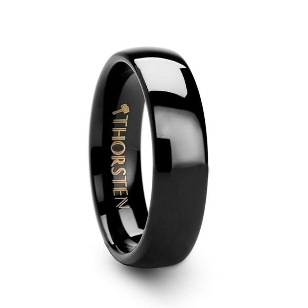 THORSTEN - PHOEBE Domed Black Tungsten Carbide Wedding Band - 6mm