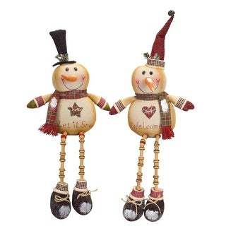 """Pack of 4 Wintertime Snowman with Dangling Legs Table Top Figures 24"""""""