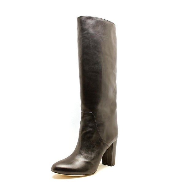 VC Signature Tiona Women Round Toe Leather Black Knee High Boot
