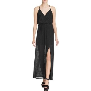 Ella Moss Womens Maxi Dress Surplice Leg-Slit