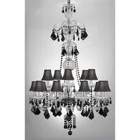Venetian Style All Crystal Chandelier Lighting With Black Crystal & Shades W32 x H48