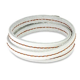 White Wrap Topstitched Leather Bracelet (Sold Ind.) (8 mm) - 7.25 in