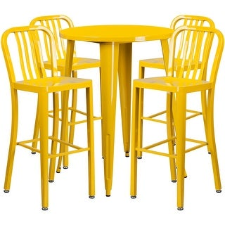 Brimmes 5pcs Round 30'' Yellow Metal Table w/4 Vertical Slat Back Barstool