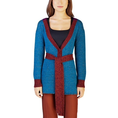 Prada Women's Alpaca Knitted Cardigan Sweater Two Tone