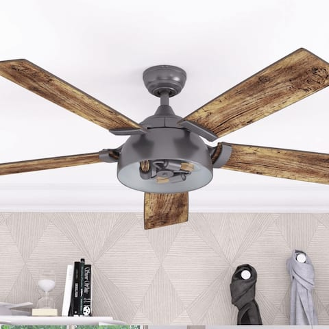 """52"""" Prominence Home Octavia Indoor Industrial Modern Ceiling Fan with Remote, Iron"""