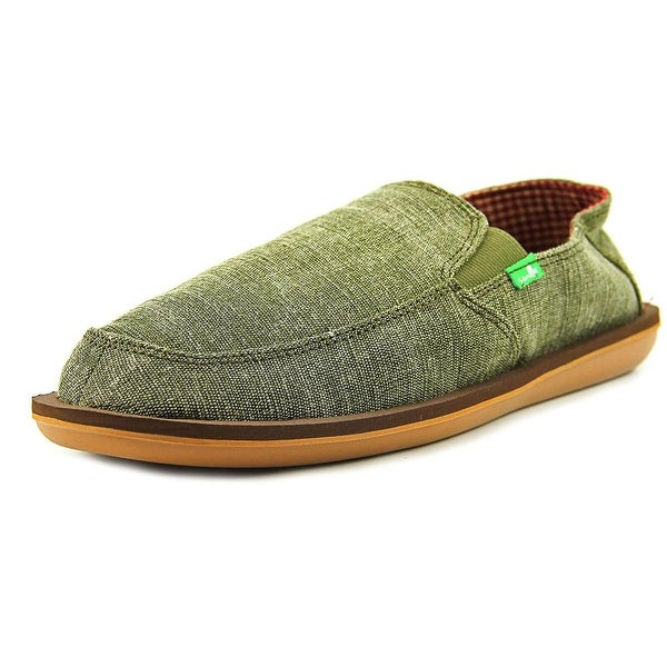 Sanuk Vice Men Round Toe Canvas Green Loafer