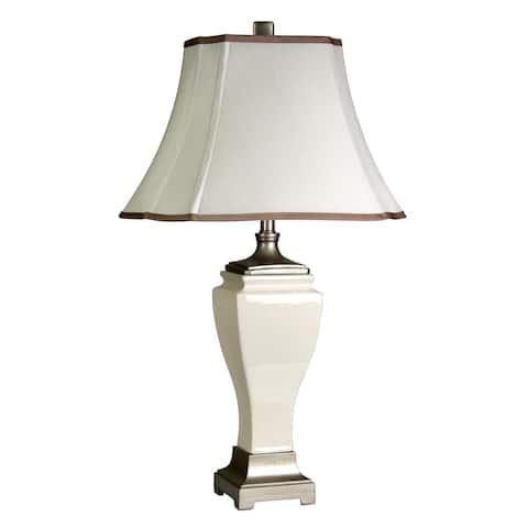 StyleCraft Cream Crackle Table Lamp - Off-White Silk Shade