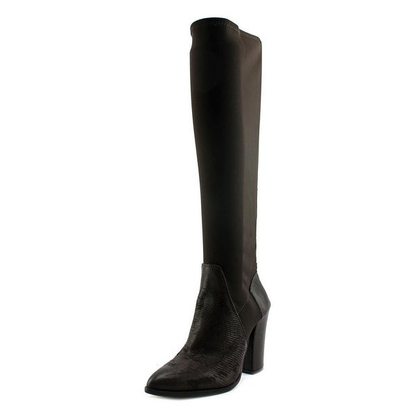 Charles David Chanta Women Pointed Toe Leather Brown Over the Knee Boot
