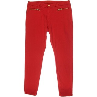 MICHAEL Michael Kors Womens Twill Zipper Pockets Skinny Jeans